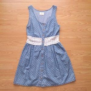 UO Pins & Needles Polka Dot Chambray Dress